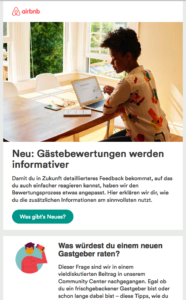 Screenshot Newsletter Airbnb