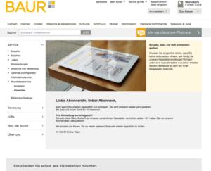 Screenshot Abmeldebestätigung Baur