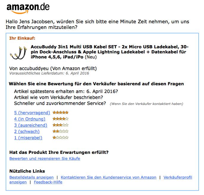 Frage in Mail von Amazon