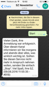 Screenshot WhatsApp Süddeutsche-Newsletter