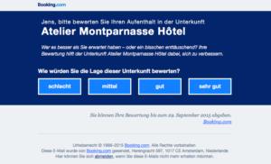Frage in Mail von Booking.com