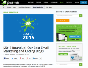 Screenshot Website Email on Acid Trends im Marketing 2015