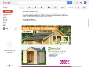Screenshot Mailing Hornbach