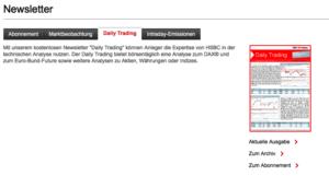 Screenshot Anmeldung Newsletter HSBC