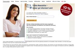 Screenshot Anmeldung Newsletter auf Tchibo.de