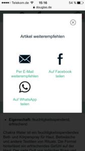 Screenshot Douglas Teilen-Funktion