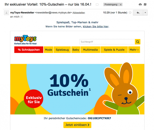 Screenshot Newsletter MyToys