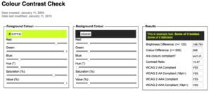 Screenshot Colour Contrast Check