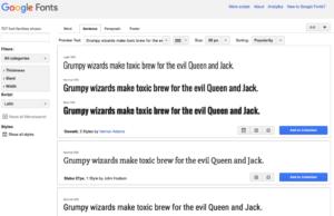 Screenshot Website Google Fonts - Webfonts E-Mails