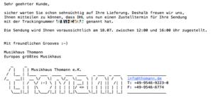 Screen Transaktionsmail Thomann Mailing-Kampagnen