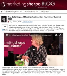 Screenshot Blog Marketing Sherpa