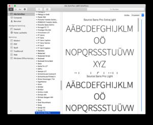 Schriftsammlung Mac OS Typographie Newsletter