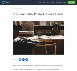 Screenshot Vero-Blog Produkt Update