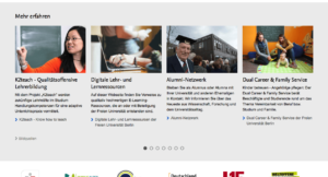 Screenshot Website FU Berlin Slider