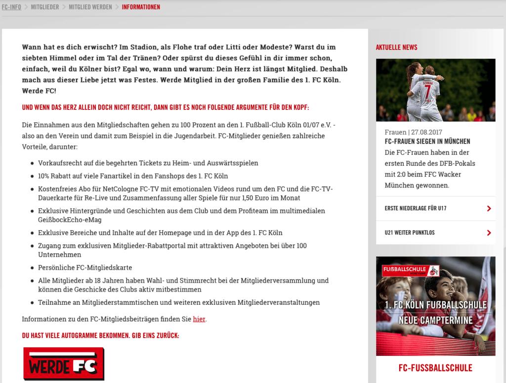 Screenshot Argumentation Mitgliedschaft 1. FC Köln