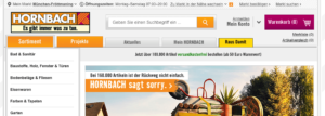 Screenshot Website Hornbach Entschuldigung