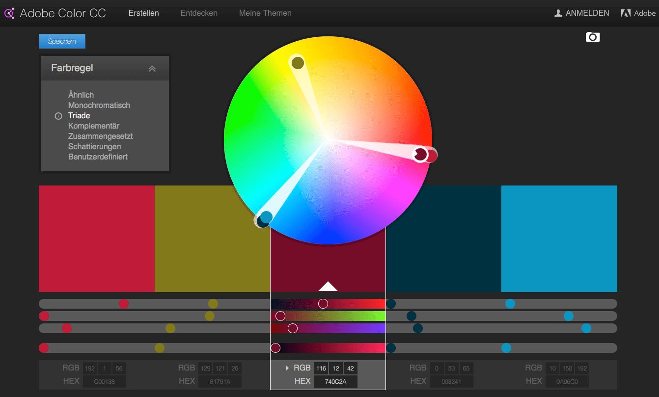 Mit Adobe Color CC stellen Sie in ein paar Klicks harmonische Farbkombinationen zusammen.
