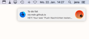 Screenshot Push Nachricht