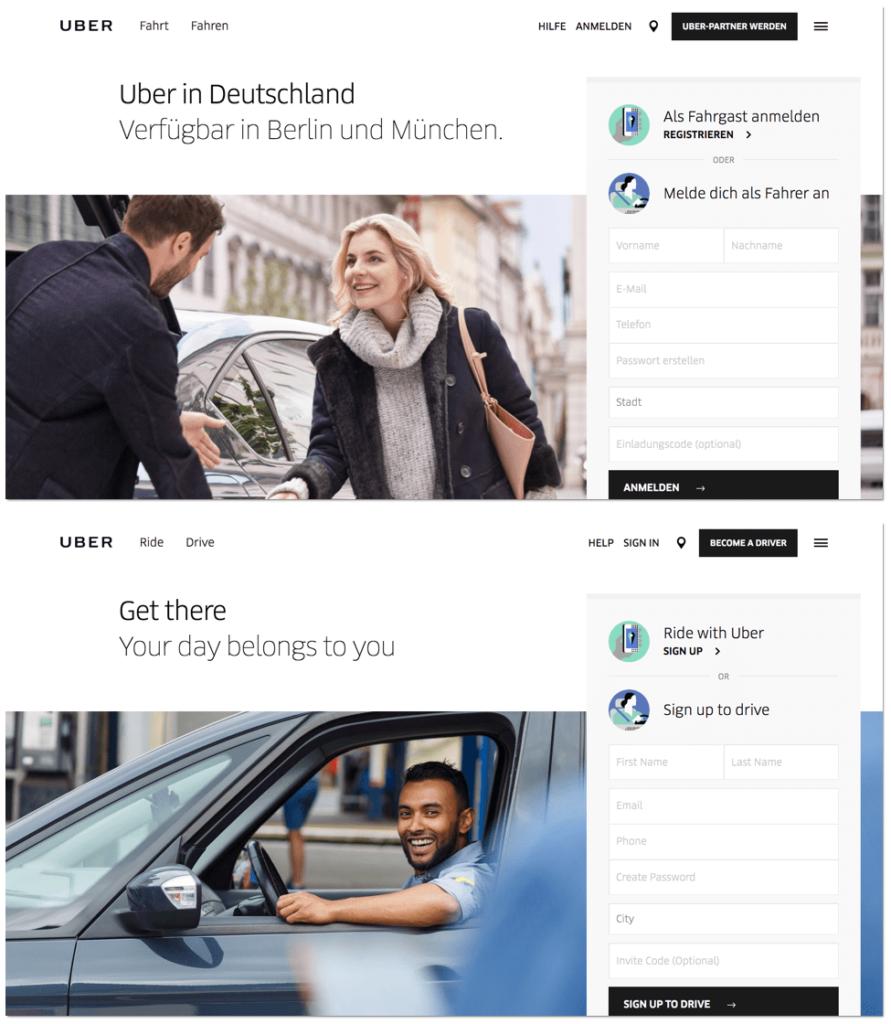 Screenshots Websites Uber DE & EN - Ein Beispiel für Hyperpersonalisierung