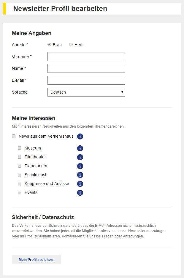 Beispiel Newsletterprofil bearbeiten