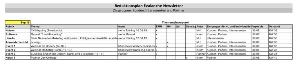 Newsletter Themen und Evalanche Newsletter Redaktionsplan
