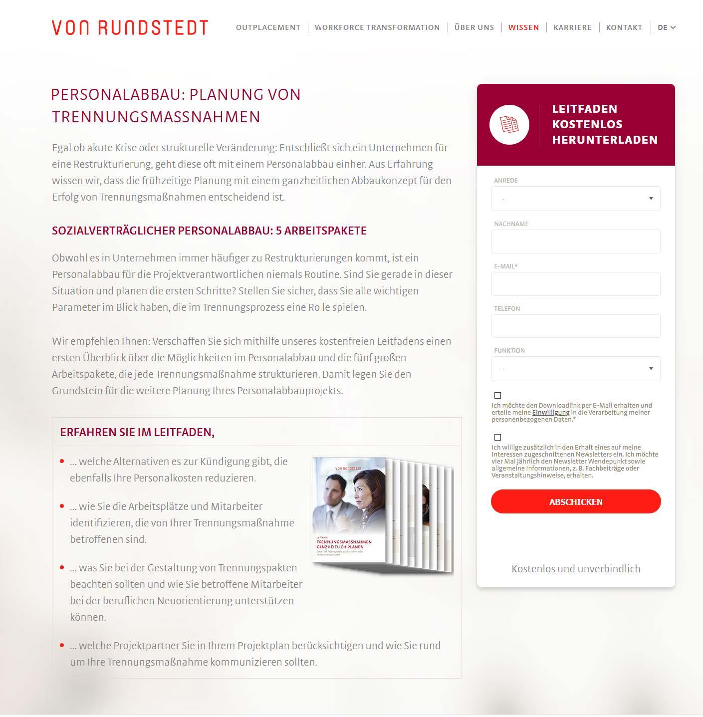 Web-Formular für Kontakte (Quelle: von Rundstedt)