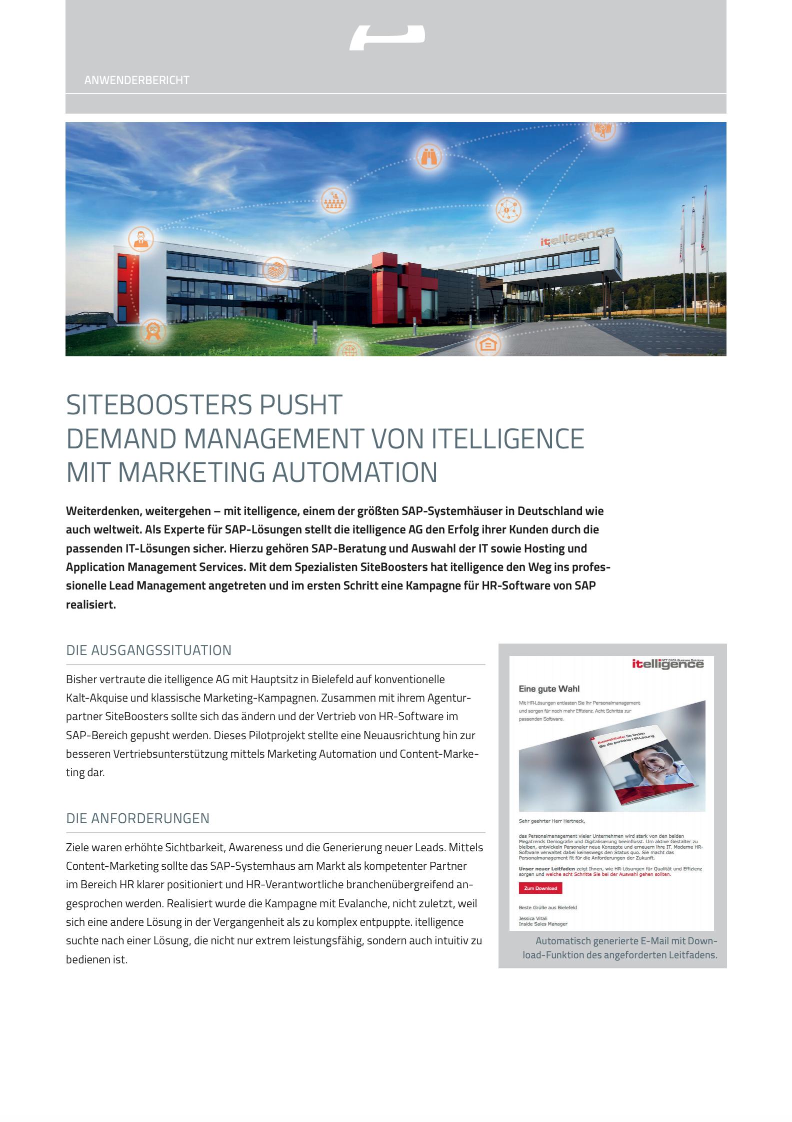 Siteboosters pusht Demand Management von Itelligence mit Marketing Automation
