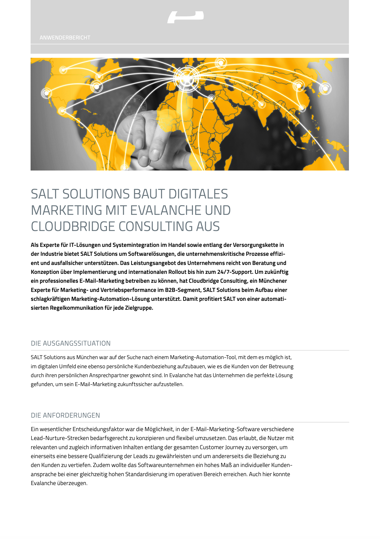 SALT Solutions baut digitales Marketing mit Evalanche und Cloudbridge Consulting aus