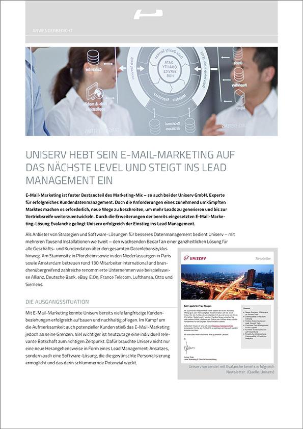 Uniserv hebt sein E-Mail Marketing auf das nächste Level und steigt ins Lead Management ein